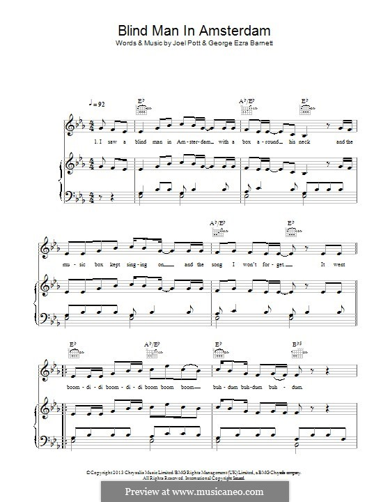 Blind Man in Amsterdam: Для голоса и фортепиано (или гитары) by Joel Pott, George Ezra Barnett