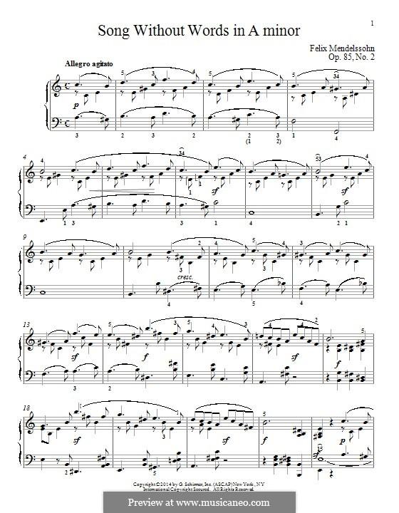 Песни без слов, Op.85: No.2 Allegro agitato by Феликс Мендельсон-Бартольди
