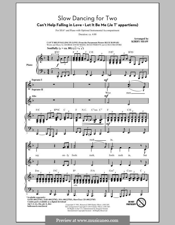 Slow Dancing for Two: Для женского хора by George David Weiss, Gilbert Becaud, Hugo Peretti, Luigi Creatore, Mann Curtis