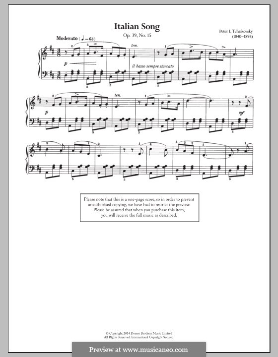 No.15 Итальянская песенка: Для фортепиано by Петр Чайковский