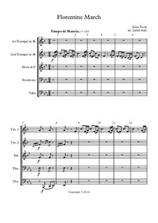 Florentine March, Op.214: For wind quintet – score by Юлиус Фучик