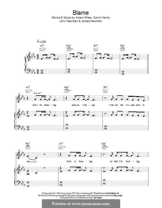 Blame (feat. John Newman): Для голоса и фортепиано (или гитары) by Adam Wiles, Calvin Harris, John Newman, James Newman
