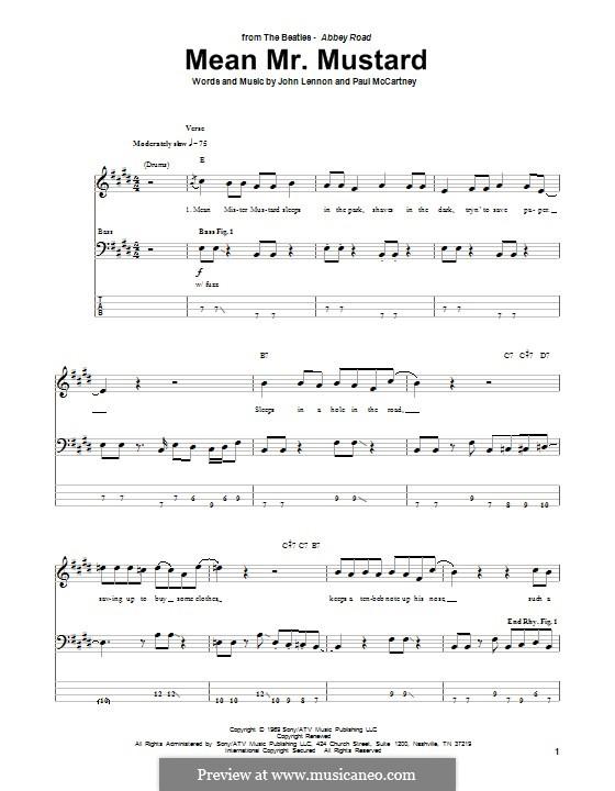 Mean Mr. Mustard (The Beatles): Для бас-гитары с табулатурой by John Lennon, Paul McCartney