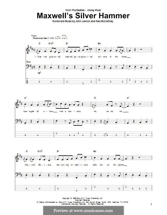 Maxwell's Silver Hammer (The Beatles): Для бас-гитары с табулатурой by John Lennon, Paul McCartney