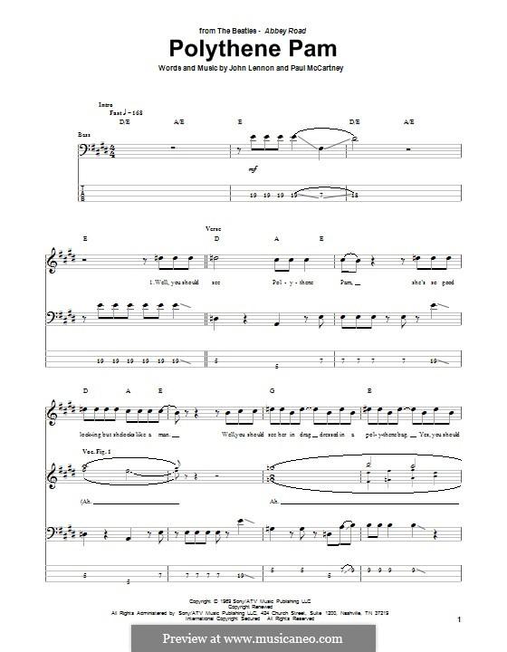 Polythene Pam (The Beatles): Для бас-гитары с табулатурой by John Lennon, Paul McCartney