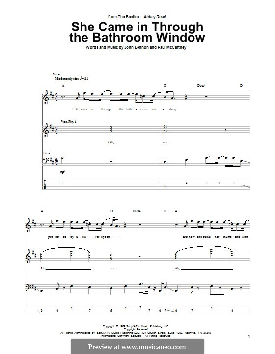She Came in Through the Bathroom Window (The Beatles): Для бас-гитары с табулатурой by John Lennon, Paul McCartney