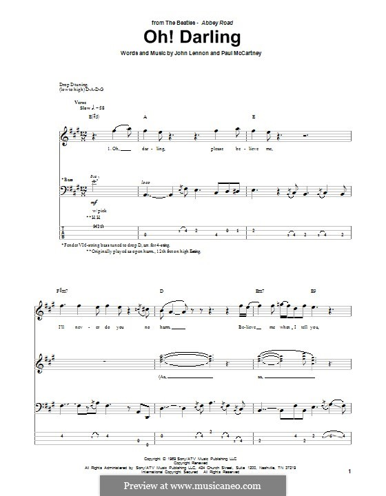 Oh! Darling (The Beatles): Для бас-гитары с табулатурой by John Lennon, Paul McCartney