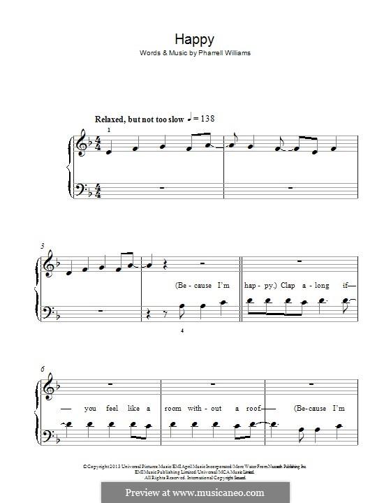 Happy: Для фортепиано (легкий уровень) by Pharrell Williams