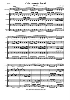 Concerto for Cello and Strings in D Minor, RV 407: Score and all parts by Антонио Вивальди