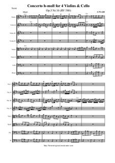 Концерт для четырех скрипок, виолончели и струнных No.10 си минор, RV 580: Партитура и партии by Антонио Вивальди