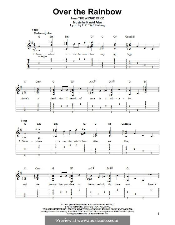 Over the Rainbow (from The Wizard of Oz): Для гитары с табулатурой by Harold Arlen