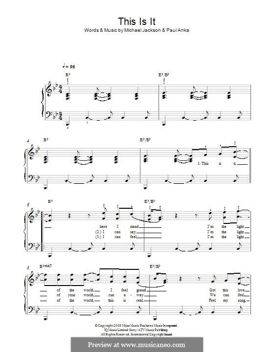This Is It: Для фортепиано by Michael Jackson, Paul Anka