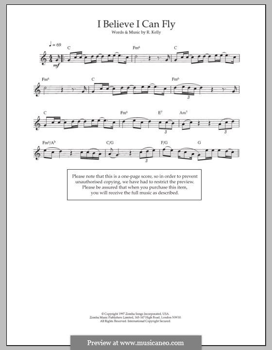 I Believe I Can Fly: Для флейты by Robert Kelly