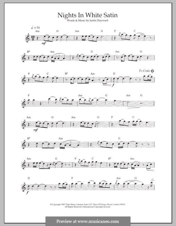 Nights in White Satin (The Moody Blues): Для флейты by Justin Hayward