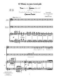 O Mimì, tu più non torni: For tenor, baritone and piano, CSPG6 by Джакомо Пуччини