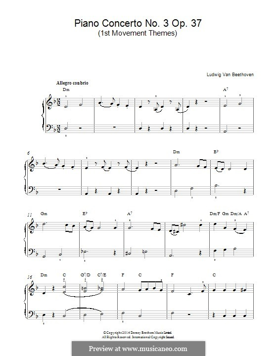 Концерт для фортепиано с оркестром No.3, Op.37: Часть I (Тема). Версия для фортепиано by Людвиг ван Бетховен