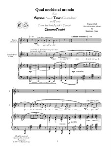 Тоска: Qual occhio al mondo, for soprano, tenor and piano, CSPG7 by Джакомо Пуччини