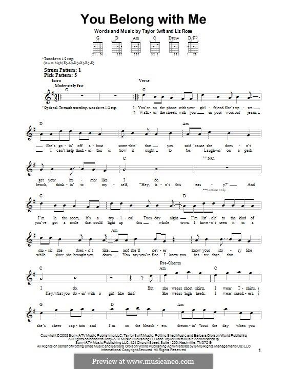 You Belong with Me (Taylor Swift): Для гитары by Liz Rose