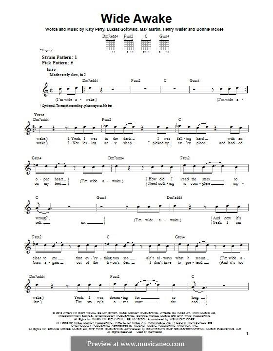 Wide Awake: Для гитары by Bonnie McKee, Katy Perry, Lukas Gottwald, Max Martin, Henry Russell Walter