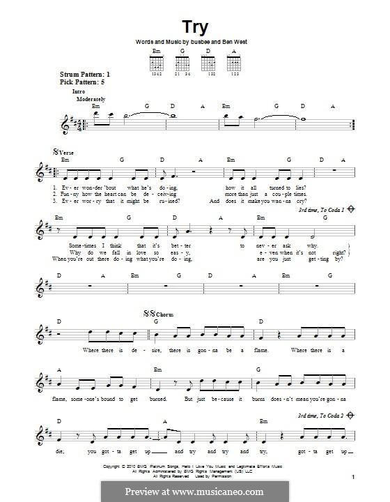 Try (Pink): Для гитары с табулатурой by Busbee, Ben West