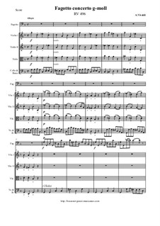 Concerto for Fagotto and Strings in G Minor, RV 496: Score and all parts by Антонио Вивальди
