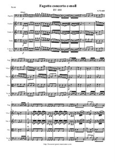 Concerto for Fagotto and Strings in C Minor, RV 480: Score and all parts by Антонио Вивальди