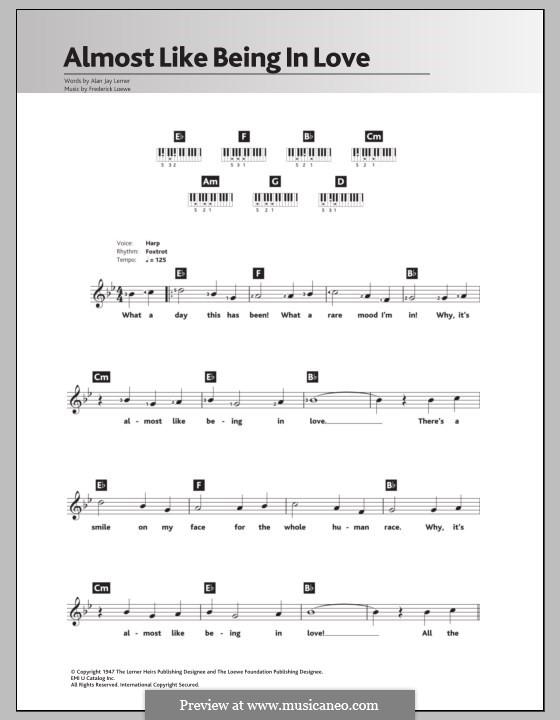Almost Like Being in Love: Для клавишного инструмента by Frederick Loewe