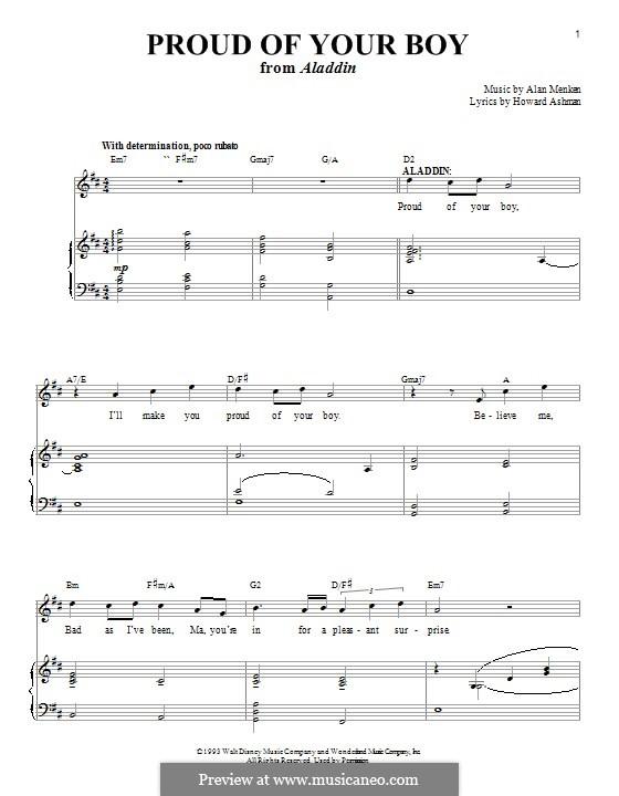 Proud of Your Boy (from Aladdin): Для голоса и фортепиано by Alan Menken