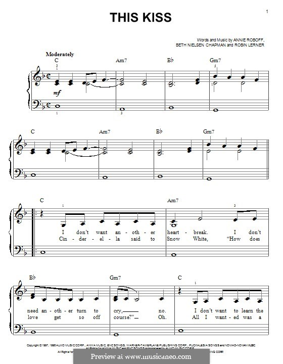 This Kiss (Faith Hill): Для фортепиано by Annie Roboff, Beth Nielsen Chapman, Robin Lerner