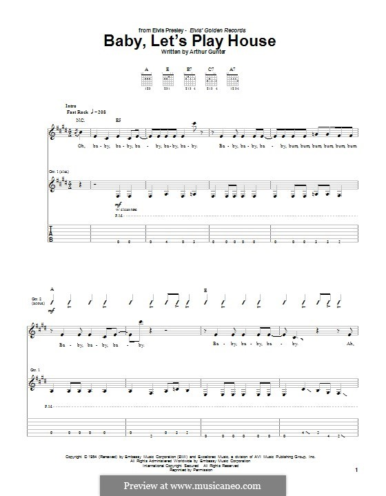 Baby, Let's Play House (Elvis Presley): Для гитары с табулатурой by Arthur Gunter