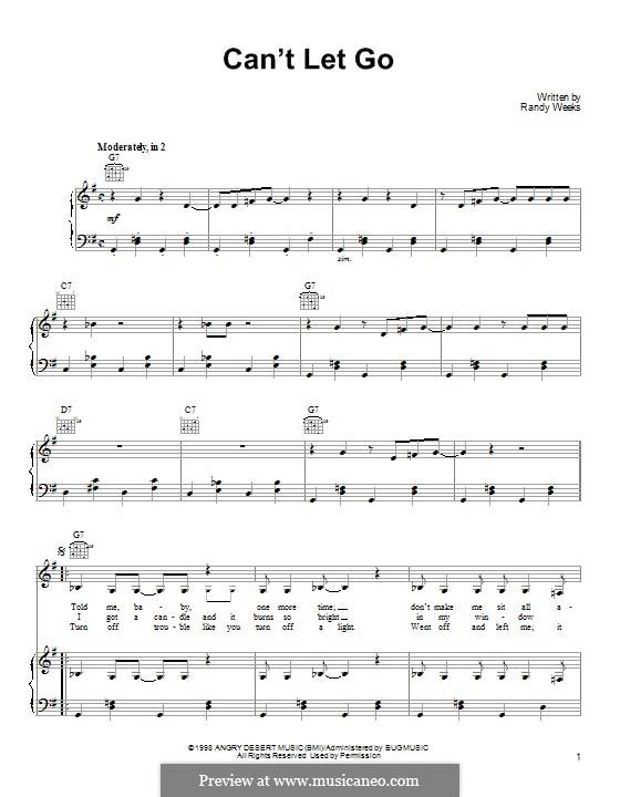 Can't Let Go (Lucinda Williams): Для голоса и фортепиано (или гитары) by Randy Weeks