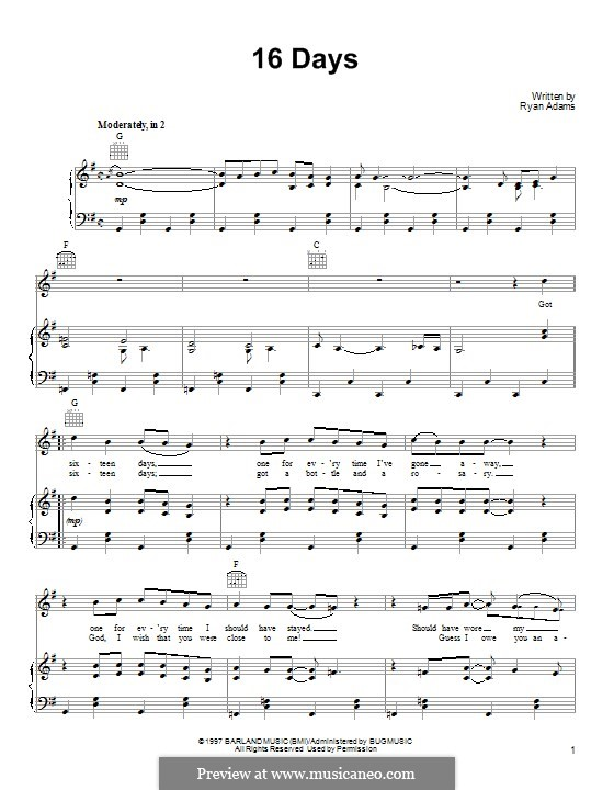 16 Days (Whiskeytown): Для голоса и фортепиано (или гитары) by Ryan Adams