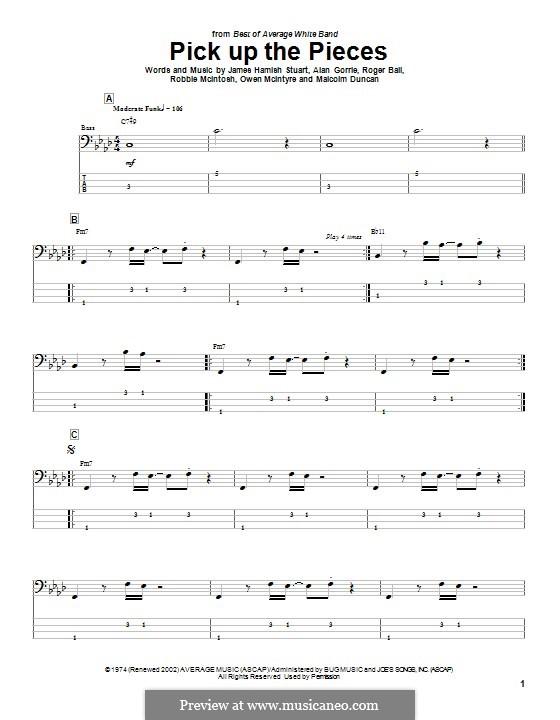 Pick Up the Pieces (Average White Band): Для бас-гитары с табулатурой by Hamish Stuart, Robert McIntosh, Roger Ball, Alan Gorrie, Malcolm Duncan, Owen McIntyre
