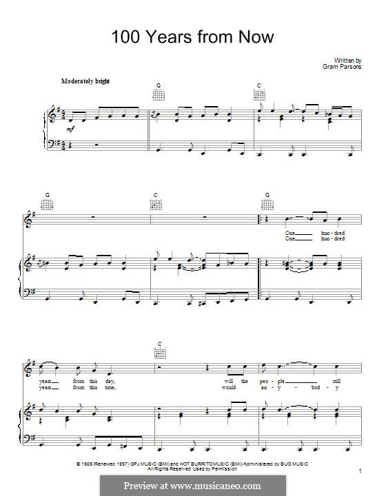 100 Years from Now: Для голоса и фортепиано (или гитары) by Gram Parsons
