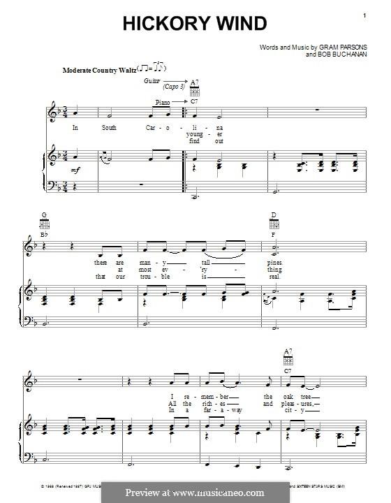 Hickory Wind: Для голоса и фортепиано (или гитары) by Bob Buchanan, Gram Parsons