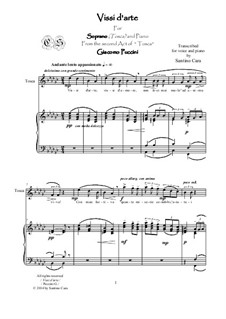 Тоска: Vissi d'arte, for soprano and piano, CSPG11 by Джакомо Пуччини