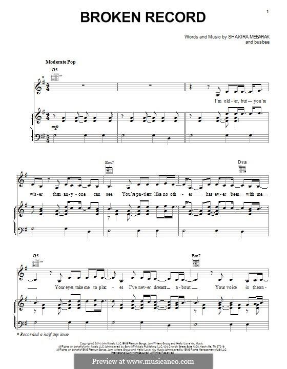 Broken Record (Shakira): Для голоса и фортепиано (или гитары) by Busbee, Shakira