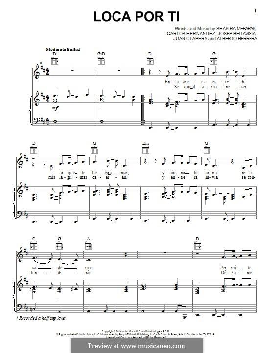 Loca Por Ti (Shakira): Для голоса и фортепиано (или гитары) by Shakira, Alberto Herrera, Carlos Hernandez, Josep Bellavista, Juan Clapera