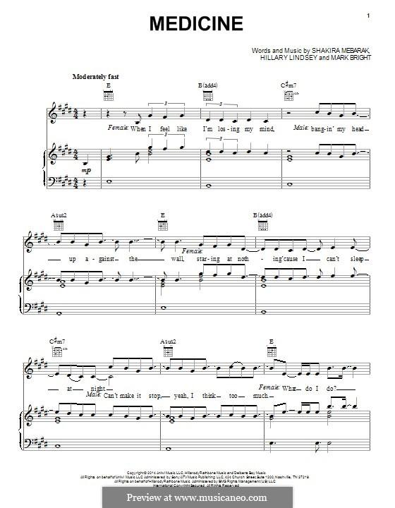 Medicine (Shakira): Для голоса и фортепиано (или гитары) by Shakira, Hillary Lindsey, Mark Bright
