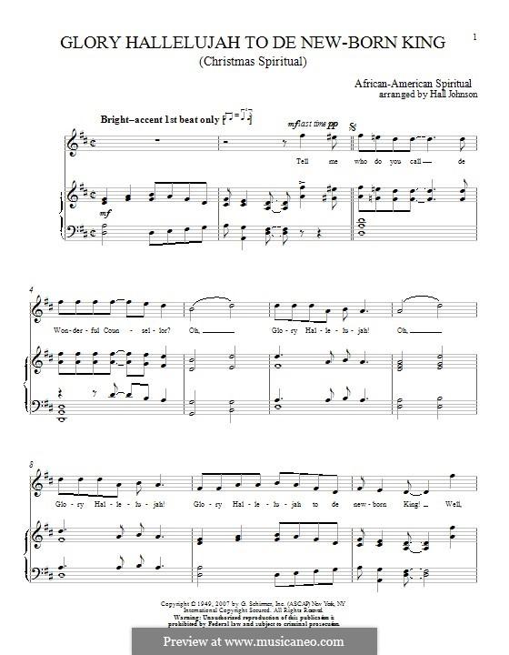 Glory Hallelujah to the Newborn King: Для голоса и фортепиано by folklore