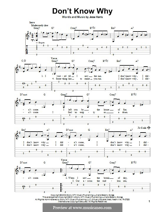 Don't Know Why (Norah Jones): Для гитары с табулатурой by Jesse Harris