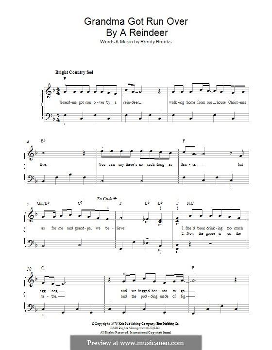 Grandma Got Run Over By a Reindeer: Для фортепиано by Randy Brooks