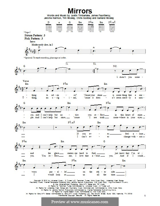 Mirrors: Для гитары с табулатурой by Garland Mosley, James Fauntleroy II, Jerome Harmon, Justin Timberlake, Timbaland, Chris Godbey