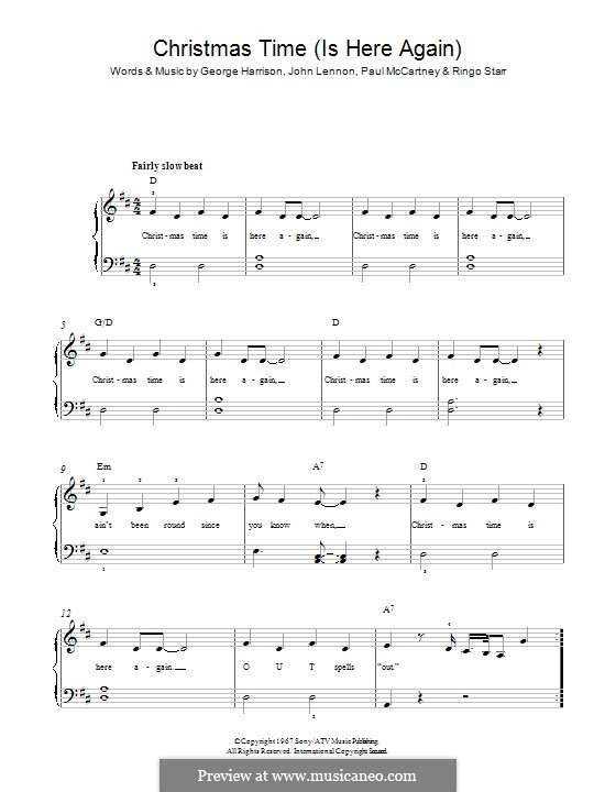 Christmas Time (Is Here Again): Для фортепиано by George Harrison, John Lennon, Paul McCartney, Ringo Starr
