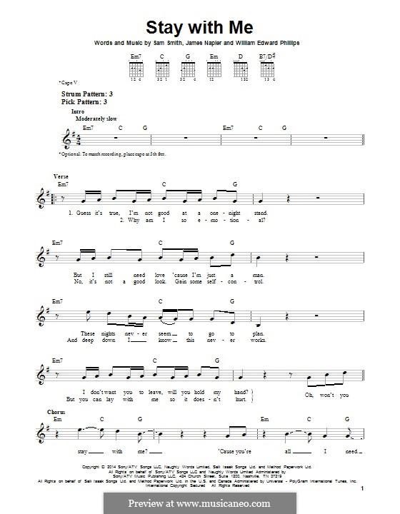 Stay with Me: Для гитары с табулатурой by Samuel F Smith, James Napier, William Phillips