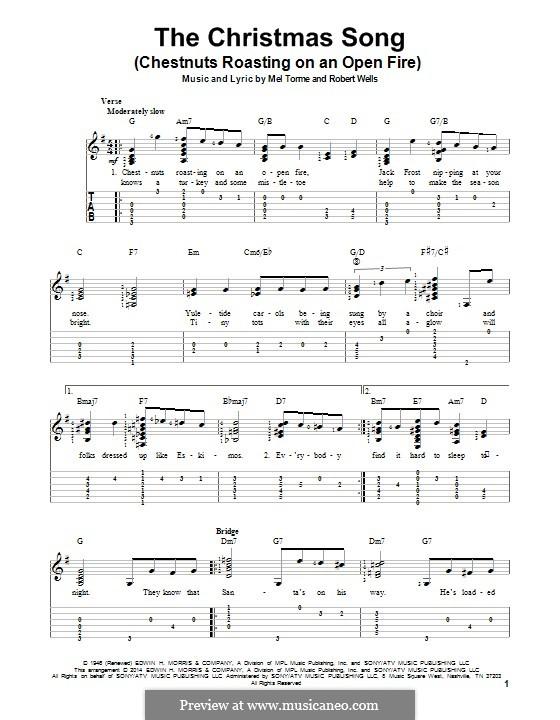 The Christmas Song (Chestnuts Roasting on an Open Fire): Для гитары с табулатурой by Mel Tormé, Robert Wells
