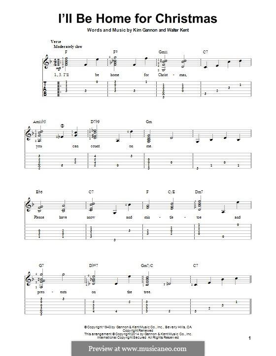 I'll Be Home for Christmas: Для гитары с табулатурой by Kim Gannon, Walter Kent