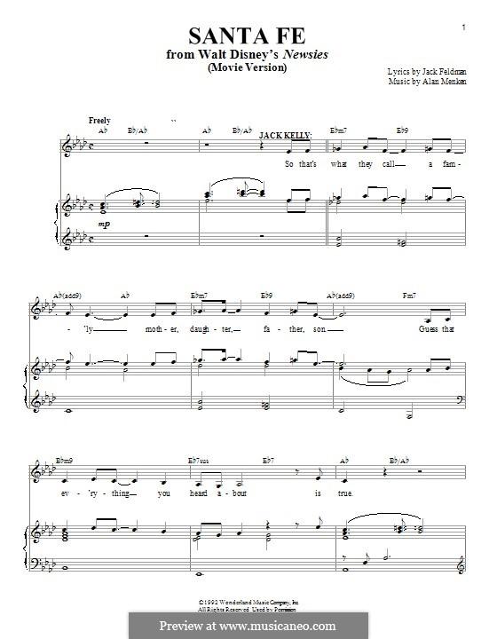 Santa Fe (from Newsies): Для голоса и фортепиано by Alan Menken