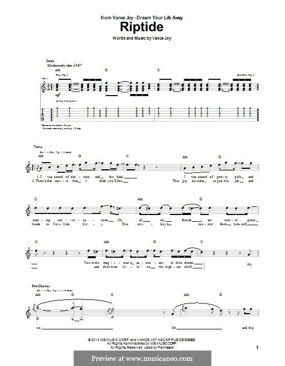 Riptide: Для гитары с табулатурой by Vance Joy