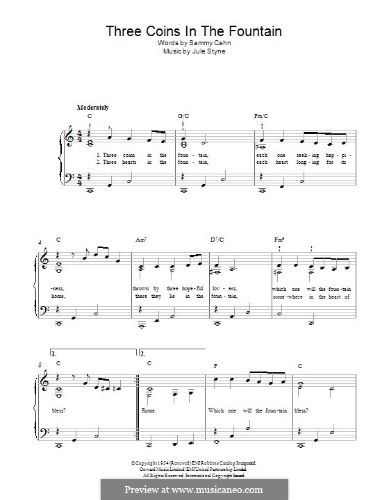 Three Coins in the Fountain (Frank Sinatra): Для фортепиано by Jule Styne